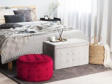 Footstool Red Velvet Round Pouffe Button Tufted