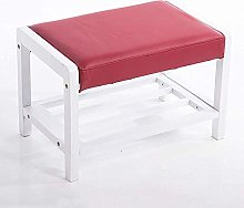 Footstool Solid Wood Shoe Rack Storage and