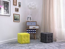 Footstool Yellow Velvet Cube Pouffe Button Tufted