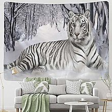 Forest Animal White Tiger Tapestry Wall Hanging