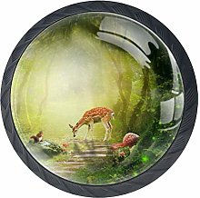 Forest Deer Magic Mushroom Cabinet Door Knobs