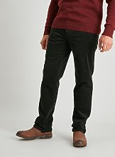 Forest Green Straight Leg Corduroy Trousers With