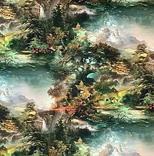 Forest Nature Idyllic Printed Cotton Fabric Sold
