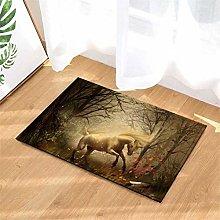 Forest. White Horse. Door Mat Front Door Carpet