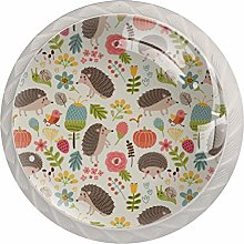 Forest with Hedgehogs Round Knob Metal Cabinet