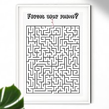 Forget Your Phone? Bathroom Maze Print - Bathroom