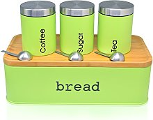 Fortune Candy Bread Box & Canister Set, Stainless