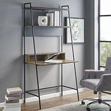 Foster Brown Wooden Ladder Desk with Shelves &