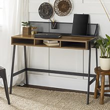 Foster Brown Wooden Office Desk with Black Mesh