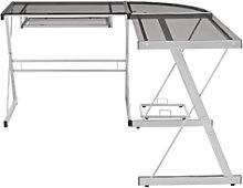 Foster Grey Office Corner Desk with Tempered Glass