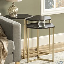 Foster Hexagon Nest of 3 Tables with Gold Base