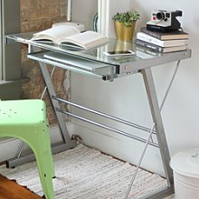 Foster Silver Office Desk with Tempered Glass &