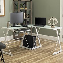 Foster White Corner Desk in Tempered Glass