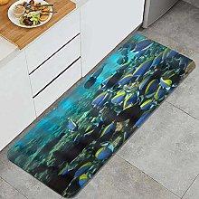 FOURFOOL Kitchen Rugs,Ocean Fishes,Non-Slip