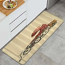 FOURFOOL Kitchen Rugs,Octopus Bicycle,Non-Slip