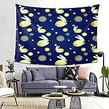 FOURFOOL Wall Hanging Tapestry,Blue Firefly Cute