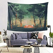 FOURFOOL Wall Hanging Tapestry,Camping In Forest