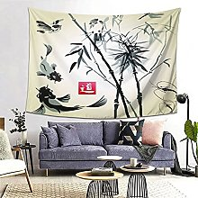 FOURFOOL Wall Hanging Tapestry,Card With Bamboo In