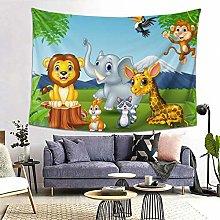 FOURFOOL Wall Hanging Tapestry,Cartoon Wild Animal