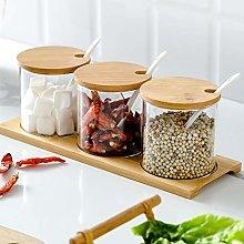 Fovor Seasoning Bottle Spice Jars, 3pcs Glass