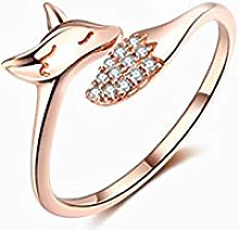 Fox Animal Shaped Rose Gold Rings for Women