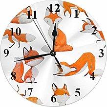 Fox Clock Nature Cute Animal Foxes Sleep Run Sit