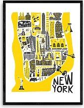 Fox & Velvet - 'New York Map' Wood Framed