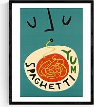 Fox & Velvet - 'Yum Spaghetti' Wood Framed