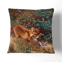 Fox With Brown Hare By Bruno Liljefors Cushion and
