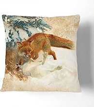 Fox With White Hare By Bruno Liljefors Cushion and