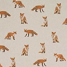 Foxes and Cubs - 1 Metre - Natural Cotton Linen