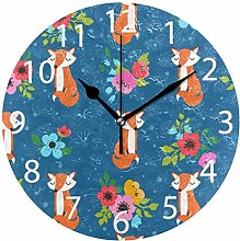 Foxes with Flowers Round Wall Clock, Silent