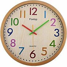 Foxtop Kids Wall Clock Silent Non-Ticking