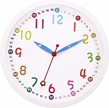 Foxtop Kids Wall Clock Silent Non-Ticking Sweep