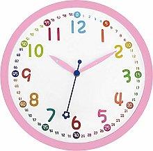 Foxtop Pink Kids Wall Clock 12 Inch Cute Large