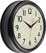 Foxtop Retro Black Wall Clock, Silent Non Ticking