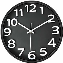 Foxtop Silent Wall Clock 12 Inch Large Number 3D