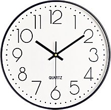 Foxtop Silent Wall Clock 12 Inch Non-Ticking Clock