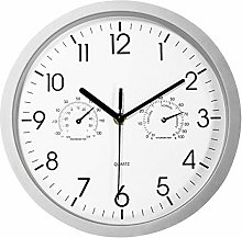 Foxtop Silent Wall Clock with Thermometer and