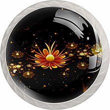 Fractal Flowers Abstract Round Cabinet Knobs 4pcs