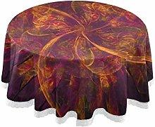 Fractals Orange Purple Design Round Linen