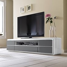 Frame LCD TV Stand In White Grey Gloss With LED