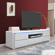 Frame LCD TV Stand In White High Gloss With LED