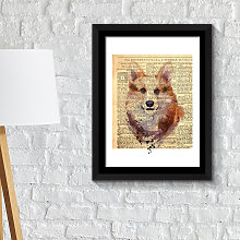 Framed Art Fox Newspaper Animal Poster Print -