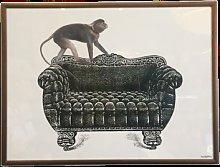 Framed Art - Framed Monkey on Couch Print (30x40)