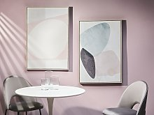 Framed Canvas Wall Art Beige Abstract Theme Print