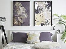 Framed Canvas Wall Art Gold and Black Botanical