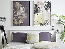 Framed Canvas Wall Art Gold and Grey Botanical