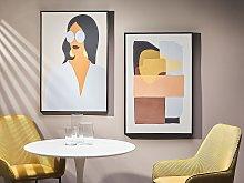 Framed Canvas Wall Art Multicolour Abstract Theme