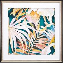 Framed Wall Art 60 x 60 cm Palm Leaf Pattern Print